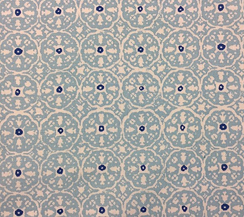 China Seas Fabric: Nitik II - Custom Sky / Cobalt on White Belgian Linen/Cotton