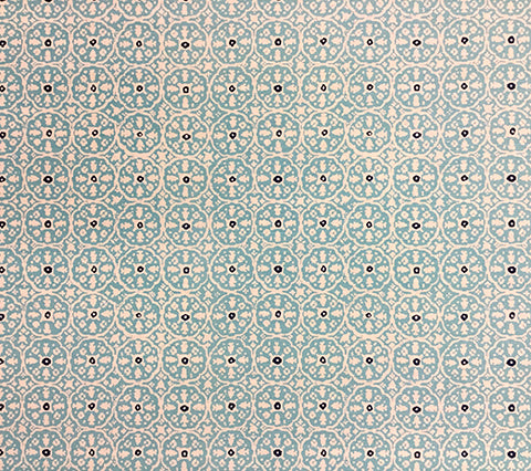 China Seas Fabric: Nitik II - Custom Pale Turquoise / Navy batik print on Tinted Belgian Linen/Cotton