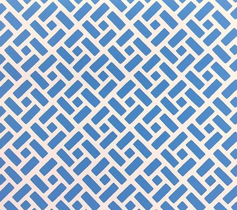 China Seas Wallpaper: Edo II - Custom Sailor's Sea Blue geometric print on White Paper