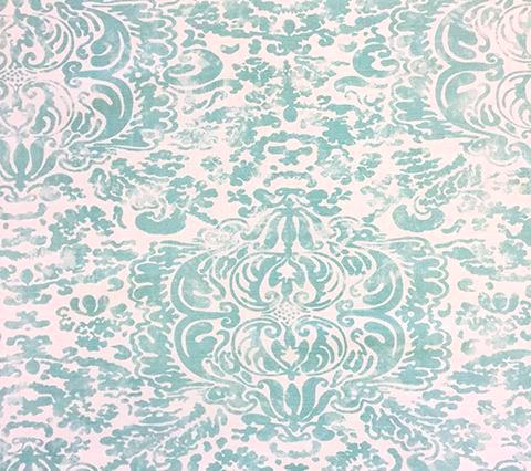 China Seas Fabric: San Marco - Custom Light Turquoise on Tinted Belgian Linen/Cotton