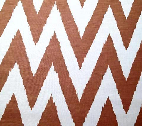 Quadrille Prints: Tashkent - Custom Camel chevron zig zag print on White Belgian Linen/Cotton hand-printed fabric