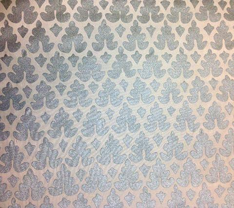 Quadrille Prints: Volpi - Custom Silver Metallic on 100% Silk Taffeta