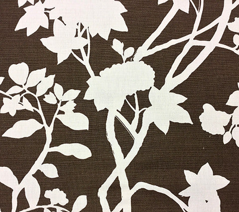 Quadrille Prints: Happy Garden Background - Custom Brown on Tinted Belgian Linen/Cotton
