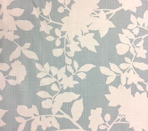 Quadrille Prints: Happy Garden Background - Custom Windsor Blue on White Belgian Linen/Cotton