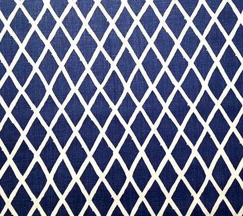 China Seas Fabric: Lyford Diamond Blotch - Custom Navy on White 100% Belgian Linen