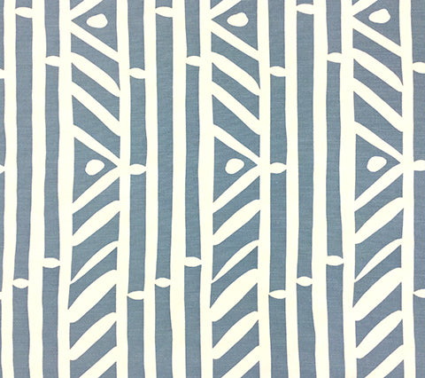 Alan Campbell Fabric Candu Custom Gray Blueish beachy geometric striped print on White Belgian Linen/Cotton