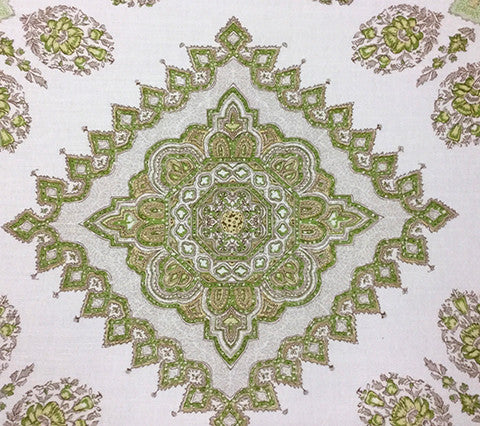 Home Couture Fabric: Persepolis - Custom Green / Camel on White Belgian Linen/Cotton