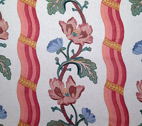Quadrille Fabric: Chaillot - Peche on 100% Glazed Cotton Sateen (Imported from France)