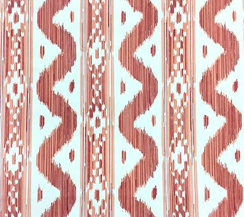 China Seas Wallpaper: Bali Hai - Custom Salmon / Red ikat print on Almost White Paper