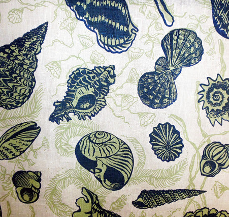 China Seas Fabric: Sea Treasures - Custom Blues / Greens on 100% Belgian Linen