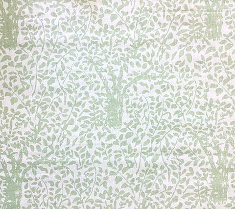 China Seas Fabric: Arbre de Matisse - Custom Soft French Green tree print on White 100% Belgian Linen