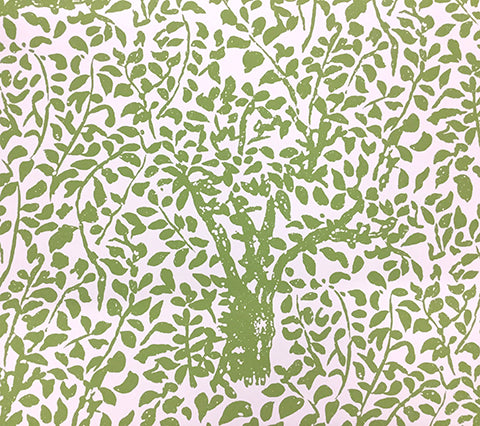 China Seas Wallpaper: Arbre de Matisse - Custom Jungle Green on Almost White Paper