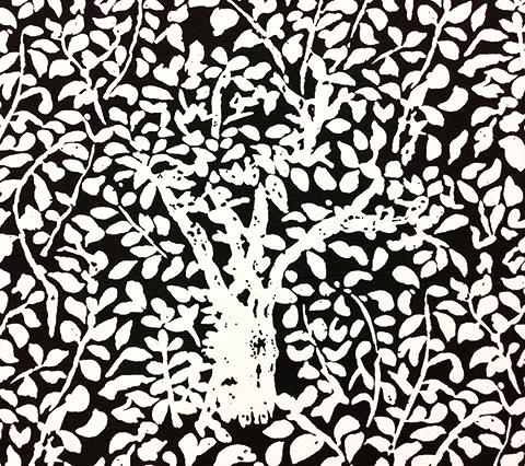 China Seas Fabric: Arbre de Matisse Reverse Custom Black tree print on White Belgian Linen/Cotton