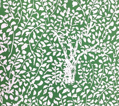 China Seas Wallpaper: Arbre de Matisse Reverse - Custom Grasshopper Green on White P