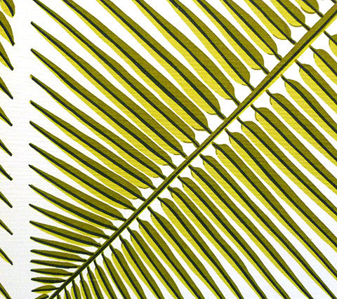 China Seas Fabric: Bahama Palm - Fern Green on Light-Tint Belgian Linen/Cotton