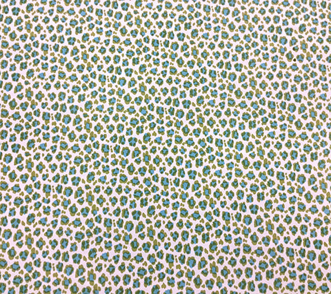 China Seas Fabric: Conga Line - Custom Aqua / Moss on White Belgian Linen/Cotton