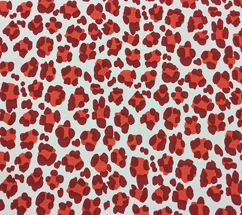 China Seas Fabric: Conga Line - Custom Reds on White Belgian Linen/Cotton