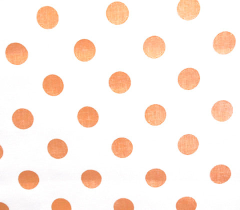 China Seas Fabric Charade Custom Orange Polka Dots on White Belgian Linen