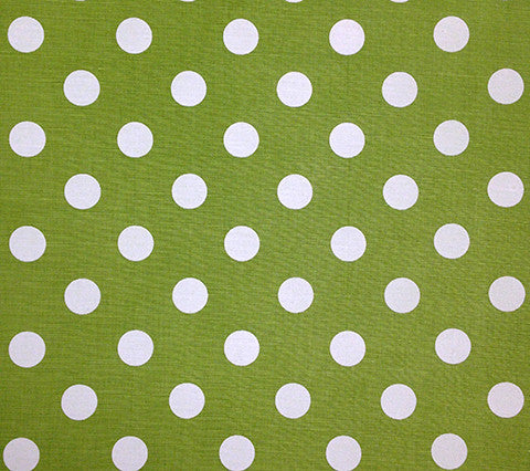 China Seas Fabric Charade Custom Green with Off White Polka Dots on Belgian Linen Cotton
