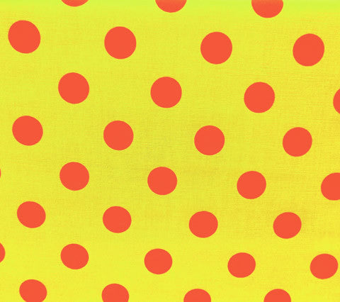 China Seas Fabric Charade Custom Green Lime Yellow with Pink Polka Dots on Belgian Linen Cotton