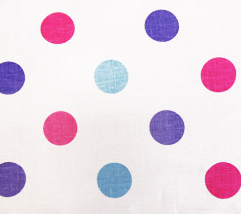 China Seas Fabric Charade Multi Custom Pink Blue Lavender Polka Dots on White 100% Belgian Linen