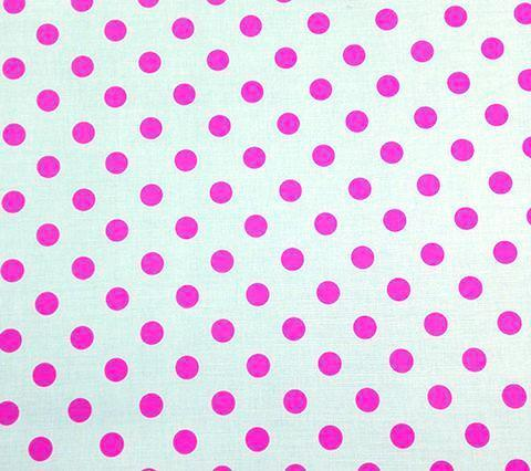 China Seas Fabric Hampton Custom Fuchsia small polka dots on White Belgian Linen Cotton