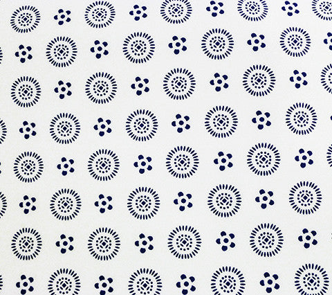 China Seas Wallpaper Cecil Custom Navy small geometric dot print on Off White Paper