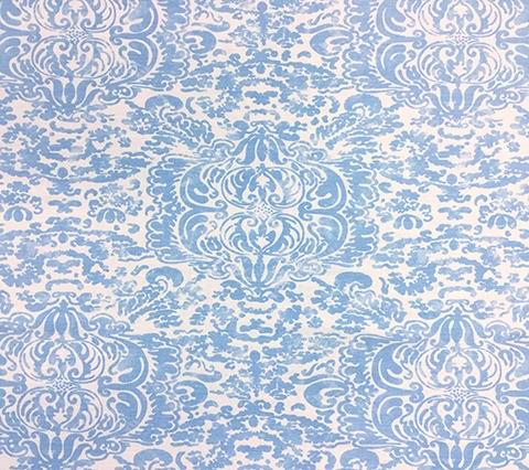 China Seas Fabric: San Marco - Custom Zibby Blue on White Belgian Linen/Cotton