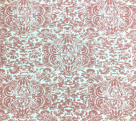 China Seas Fabric: San Marco - Custom Coral on Oyster 100% Basketweave Linen (Heavy, Upholstery weight)