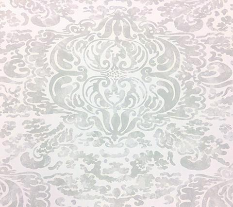 China Seas: San Marco Wallpaper - Custom Bone antiqued damask print on Off White Paper