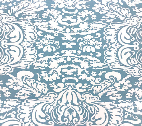 China Seas Wallpaper: San Marco Reverse - Custom Medium Blue on Almost White Paper