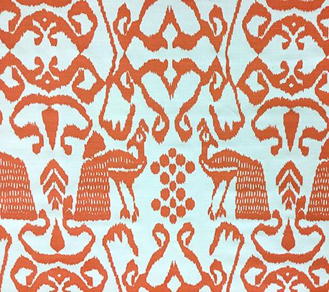 China Seas Fabric: Bali Isle - Custom Orange on White Belgian Linen/Cotton