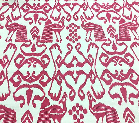 China Seas Fabric: Bali Isle - Custom Magenta on Tinted Belgian Linen/Cotton