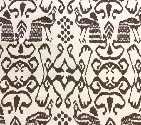China Seas Fabric: Bali Isle - Custom New Brown on Tinted Belgian Linen/Cotton