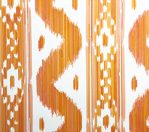 China Seas Wallpaper: Bali Hai - Custom Jaguar Orange on Off White Paper