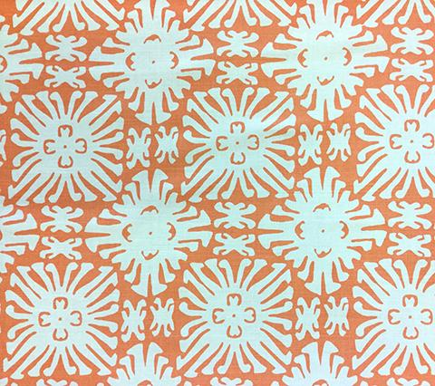 China Seas Fabric: Sigourney Small Scale Reverse - Custom Orange on White Belgian Linen/Cotton