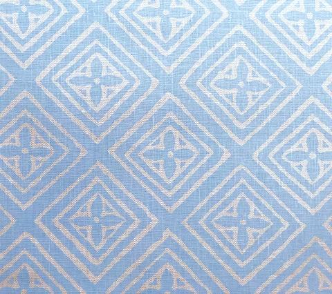 China Seas Fabric: Fiorentina - Custom New Blue on Tan 100% Belgian Linen