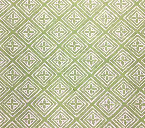 China Seas Fabric: Fiorentina - Custom Jungle Green on White Belgian Linen/Cotton