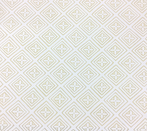 China Seas Fabric Fiorentina Custom White traditional small geometric print on Tinted Belgian Linen/Cotton