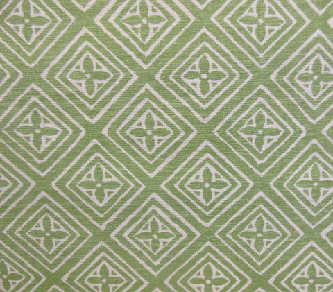 China Seas Fabric Fiorentina Custom Jungle Green geometric print on Cream pure textured Tussah Silk