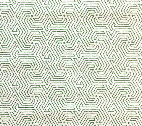China Seas Fabric: Maze - Custom Leaf Green on Tinted 100% Belgian Linen