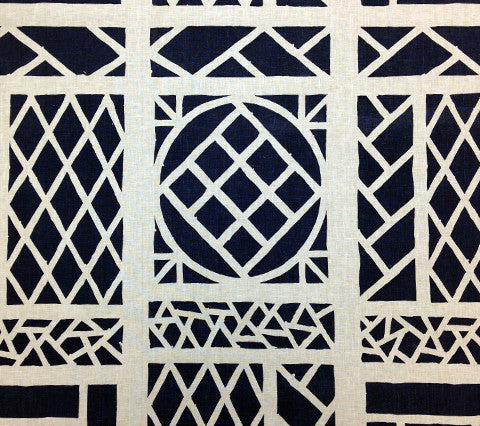 China Seas Fabric: Trellis Background - Custom Navy on Tinted 100% Linen