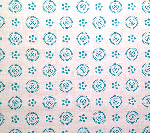 China Seas Fabric: Cecil - Custom Turquoise on White