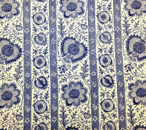 Quadrille Prints: Palampore Stripe - Custom Blues on Tint