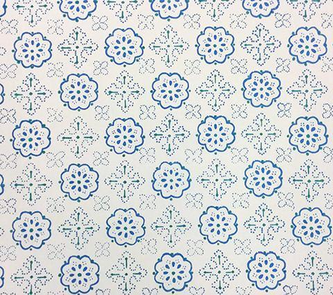 Quadrille Prints: Crawford - Custom Multi Blues on Tinted 100% Belgian Cotton Sateen