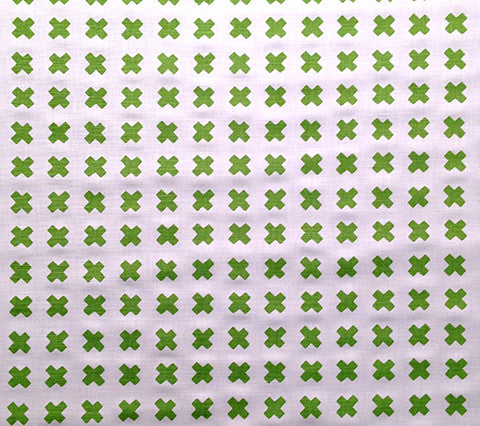 China Seas Fabric: Cross Check - Jungle Green on White