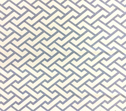 China Seas Fabric Aga Custom Sky Blue geometric print on White Belgian Linen/Cotton
