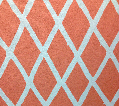 China Seas Fabric: Lyford Diamond Blotch - Custom Peachy Pink on White Trevira (Commercial Quality)