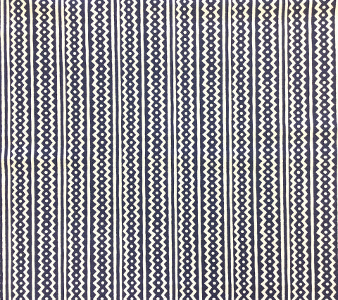Alan Campbell Fabric: Ric Rac - Custom Indigo Blue geometric zig zag chevron print on White Belgian Linen/Cotton
