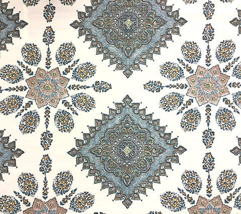 Home Couture Fabric: Persepolis - Custom Navy / Brown on 100% Trevira (Flame Resistant, Commercial Quality)